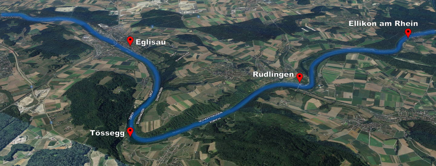 Google Map Eglisau bis Ellikon am Rhein